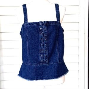 American Eagle Blue Denim Top with Lace-Up Front